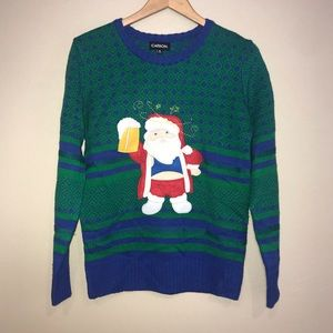 Carbon Ugly Christmas Sweater Santa drinking beer
